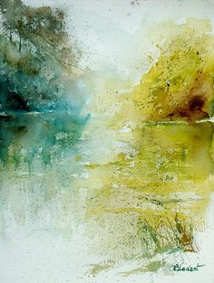 watercolor  WONDERFULLY ABSTRACT AND A GREAT USE OF CHARTREUSE AND TEAL. WOULDN'T HAVE SAID IT WOULD WORK!