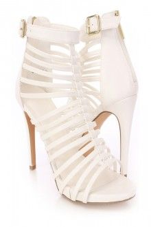 White Caged Strappy Heel Booties Faux Leather