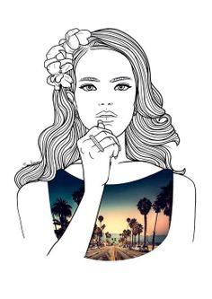 Lana Del Rey by Sarah Erranz Tumblr Outline, Outline Art, Tumblr Drawings, Art Drawings, Drawing Designs, Face Art, Art Faces, Photo Illustration, Art Techniques