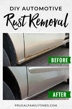 You can remove and cover the rust on your car right in your driveway.  You don't have to live with that ugly rust on your car.  Our DIY rust repair tutorial is quick and easy - and doesn't cost near as much as a body shop! #howto #savingmoney #rust #vehicle #fixit