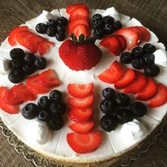 A cheesecake sure to Sparkle on the of July! Fresh strawberries and blueberries from the local farmers market. Namesake Cheesecake, Menlo park ca Blueberries, Strawberries, Layer Cheesecake, Menlo Park, Farmers Market, Fruit Salad, 4th Of July, Panna Cotta, Raspberry