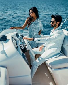 Make your pre wedding shoot a memorable one on a classy yacht and wear matching pastel blue outfits for an amazing look! (C) Sunny Dhiman Photography #wittyvows #indianwedding #preweddingphotography #preweddingshoot #pasteloutfit #indianweddinginspiration #weddingideas #weddingoutfit Picnic Pictures, Flowy Gown, Pre Wedding Shoot Ideas, Blue Outfits, Indian Look, Pastel Outfit, Chiffon Saree, Cute Summer Dresses, Wedding Story