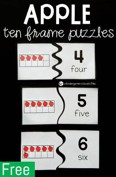 These apple ten frame puzzles are great for any Pre-K or Kindergarten student working on building up their counting and number recognition skills to ten.