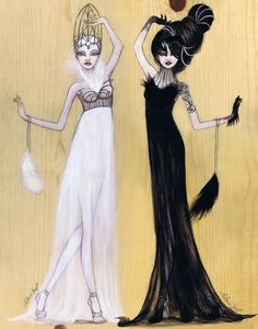 """Odette and Odile"" by Leilani Joy    swanlake blackswan odette odile ballet fashion illustration art black and white black white fashion art nuvogue feathers swan black"
