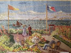 Large vintage Monet trammed needlepoint kit with wool with petit point detail and available at KindredClassics on Etsy Monet Paintings, Needlepoint Kits, Winter Landscape, Claude Monet, Daffodils, Impressionist, Canvas Size, Seaside, Cross Stitch