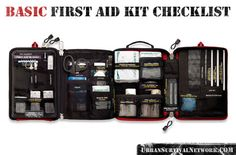 Urban Survival First Aid Kit Checklist - Urban Survival Network First Aid Kit Checklist, Survival First Aid Kit, Camping First Aid Kit, Survival Prepping, Emergency Preparedness, Survival Skills, Survival Stuff, Survival Mode, Bushcraft