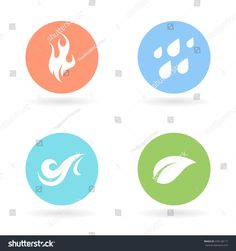 The four natural elements colour circle icons - Earth, Water, Fire and Air symbols. Vector illustration.