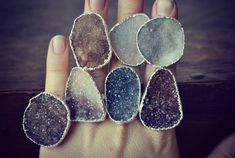 Lux Divine Large Druzy Stackable Gemstone Ring /// by luxdivine. Looooveeee theseeee