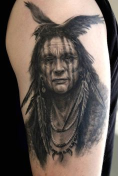Crow Indian Tattoos | ... great-tattoos-crow-brave-with-black-crow-headdress-shoulder-tattoo.jpg