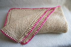 Hand Knit Baby Blanket Cream and Pink. $45.00, via Etsy.