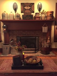 🌟Tante S!fr@ loves this📌🌟 Primitive Fireplace, Primitive Living Room, Country Fireplace, Rustic Fireplaces, Primitive Homes, Cozy Fireplace, Primitive Decor, Primitive Country, Fireplace Ideas