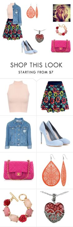 """""""Stephanie Martin"""" by leah-holly-walker ❤ liked on Polyvore featuring WearAll, Topshop, Miu Miu, Chanel, Oscar de la Renta and Lord & Taylor"""