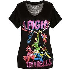 ''I Fight in Heels'' Marvel Heroines Tee for Women by Mighty Fine..  On sale at Disney but on in Medium! Dang it!!