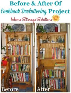 Before and after of Jennifer's cookbook decluttering project {featured on Home Storage Solutions 101}