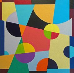 """Saatchi Art Artist Stephen Conroy; Painting, """"Geometric Abstract With Hot Pink (Large Version)"""" #art"""