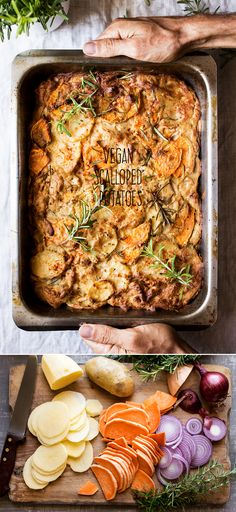 Vegan dauphinoise potatoes are a plant-based take on a classic. Full of flavour and pure comfort food, yet much kinder to your arteries. Veggie Recipes, Whole Food Recipes, Vegetarian Recipes, Cooking Recipes, Healthy Recipes, Fast Recipes, Pork Recipes, Vegan Foods, Vegan Dishes