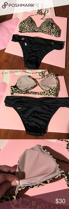 NWT *NEW* Victoria's Secret bikini! This is a brand-new bikini with a leopard top that has a removable pads and all gold Victoria's Secret hardware. Took out a bag only for picture has never been tried on nor worn. Victoria's Secret Swim Bikinis
