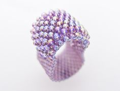Purple Ring Beaded Band Textured Layer Gummy Phlox Handmade