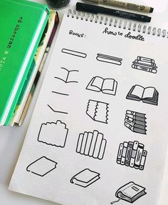 Bom dia! ☀️ Mais uns doodles de livros 📚, pq sim, né? Não resisti. São muito lindos.(Crédit