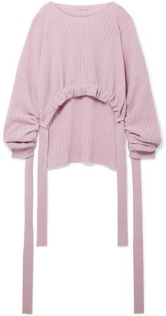Stella McCartney Gathered Asymmetric Ribbed Cashmere And Wool-blend Sweater - Lilac