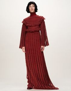ryan roche fall 2016 red crochet dress
