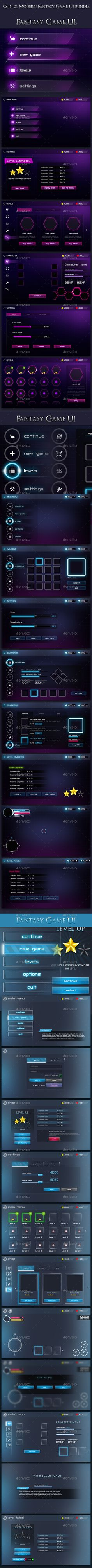 03 in 01 Modern Fantasy Game UI Bundle - User Interfaces Game Assets