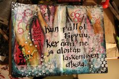 Artjournal page made in altered book. Mixedmedia