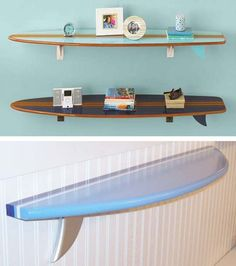 Have a surfing fan in your house They may like these sleek surfboard shelves from PB Teen but at 179 each you may as well buy a real surfboard Or you might consider a han. Decoration Surf, Surf Decor, Surfboard Decor, Beach Decorations, Beach Themes, Shark Bedroom, Ocean Bedroom Kids, Boys Surf Room, Surfer Bedroom