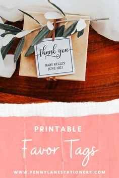 Not ready to do a gender reveal or want to keep your future baby girl or baby boy a secret? These gender neutral and elegant thank you favor tags will keep your secret. Keep your friends and family guessing with no hint of blue or pink anywhere on theses baby shower favor tag printables. In an elegant and classic style that you can edit, download and print so easily. And use all that money you saved on a future mommy to be spa day! Baby Shower Thank You, Baby Shower Favors, Baby Shower Parties, Baby Shower Decorations, Baby Shower Gifts, Gender Neutral Baby Shower, Floral Baby Shower, Diy Printable Stationery, Classic Fonts