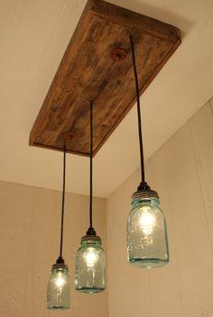 Mason Jar Chandelier Antique Blue Mason by Bornagainwoodworks