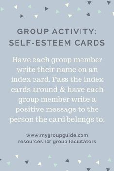 Learn More About Our Therapy Resources - Group activity: Self-Esteem Cards Group Activities For Adults, Group Therapy Activities, Mental Health Activities, Self Esteem Activities, Mental Health Therapy, Mental Health Counseling, Counseling Activities, Group Counseling, Mental Health In Schools