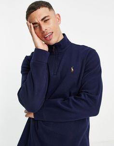 Polo Ralph Lauren icon logo half zip sweatshirt in navy Polo Ralph Lauren Sweatshirt, Sweat Shirt, Bleu Marine, Rain Jacket, Windbreaker, Teen Boy Fashion, Navy, Zip, Raincoat
