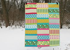 Modern Whimsy 1 by Fresh Lemons : Fun quilt to make.  Narrow strips were cut 2.5 x 17.  Wider strips were cut 6 x 17.  She does talk about color / pattern placement.  Lovely in Christmas colors.