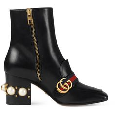 Gucci Women's Peyton Leather Ankle Boots (78,705 PHP) via Polyvore featuring shoes, boots, ankle booties, ankle boots, black boots, black leather loafers, high heel ankle boots, black ankle boots and high heel booties