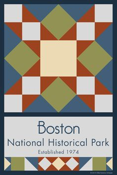Olde America Antiques | Quilt Blocks | National Parks | Bozeman Montana : NATIONAL PARK SERVICE CENTENNIAL - Boston National Historic Park Quilt Block