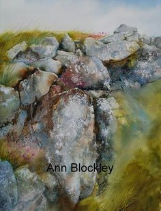 Anne Blockley artist paints sea pinks and tumbling rocks Watercolor Pictures, Watercolor Artists, Watercolor Techniques, Watercolor Landscape, Abstract Watercolor, Watercolor And Ink, Watercolour Painting, Painting Techniques, Landscape Art
