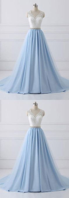 Simple  V Neck White Lace Blue Tulle Prom Dress #promdresses2018#lacepromdress#bluepromdresses#cheappromdresses#formaldress#eveingdresses#promdresses#vneckpromdress