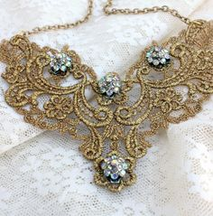 lace bib necklace with stones