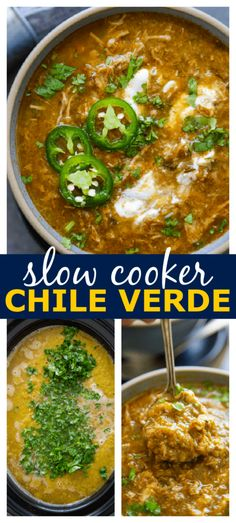 Best Slow Cooker, Slow Cooker Soup, Pressure Cooker Recipes, Slow Cooker Chile Verde, Make Ahead Meals, Easy Weeknight Meals, Easy Meals, Roasted Poblano Peppers, Stuffed Poblano Peppers