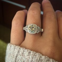 Gabriel & Co. ER9316W44JJ White Gold Victorian Cushion Halo Setting This glamorous Gabriel & Co. Cushion Halo Engagement Ring Setting is reminiscent of glam & glitz.  With a gorgeous di…