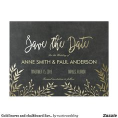 Gold leaves and chalkboard Save the Date Postcard Beautiful Save the Date Cards that will complement your modern wedding in a beautiful way.