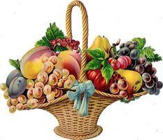 Oblaten Glanzbild scrap die cut chromo Obst Korb XL 21,5 cm basket fruits