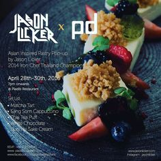 Happy Songkran!!!!!! Let's make it a sweet year!!!!! BREAKING NEWS  BANGKOK APRIL 28th-30th 7pm onwards.  Jason Licker x Pla Dib = Asian Inspired Pastry Pop  Escape from the heat for something sweet. Experience dynamic flavors textural contrasts and good times.  Aroy Mak!  WHERE? Pla Dib Restaurant 1/1 soi Areesampan 7 Pholyothin Road Bangkok Thailand 10400 http://ift.tt/1ScU9VP  #chefstalk #chefsofinstagram  #dessertmasters #TheArtOfPlating #gastronogram #GourmetArtistry #pastry_inspiration…