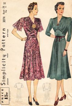 Vintage Sewing Patterns: 1930s Dresses -- lilys dress something like this, but tattered.