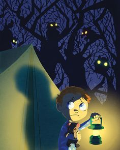an illustration of a scared young boy at a campfire. who knows what is there out…