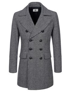 TheLees Mens (NKDC7071) Check Pattern Double Breasted Wool Blend Long PEA Coat