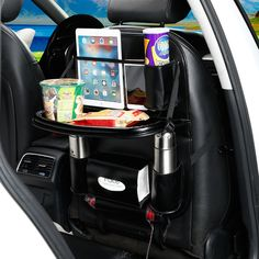 Leather Backseat Car Organizer with Foldable Food Tray Table for Drink Holder Waterproof Multi-Pocket Travel Storage Hanging Bag
