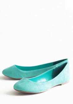 "Seafoam Darling Flats 32.99 at shopruche.com. Designed in a luxuriously soft texture, these charming seafoam green flats are perfected with a darling rounded toe and a slightly padded foot bed for a comfortable fit.All man made materials, Slightly padded footbed, 0.25"" heel"