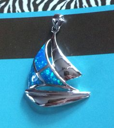 Sail Boat Blue Fire Opal Necklace Pendant Sailor Lovers Pendant by CarolesDesign on Etsy
