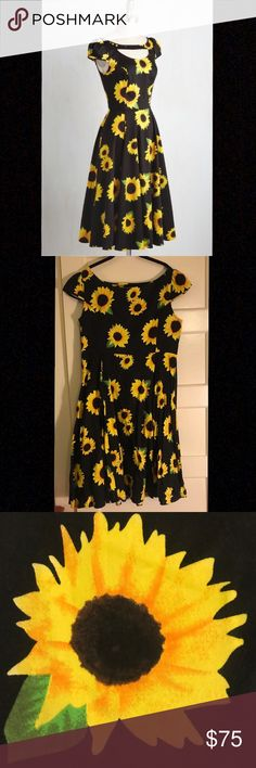 Modcloth Philadelphia Glory Sunflower Dress good as new!  only worn twice for a few hours.  no wear and tear, cute sunflower print perfect for spring.  so cute with a cardigan!  smoke free home Modcloth Dresses Midi